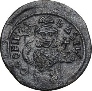 obverse: Teophilus (829-842). AE Follis, Constantinople mint