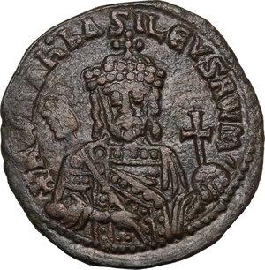 obverse: Constantine VII Porphyrogenitus with Romanus II (945-959 AD).. AE Follis, Constantinople mint
