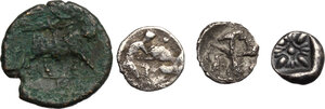 reverse: Greek Italy and Greek Asia. Multiple lot of four (4) unclassified silver (3) and bronze (1) issues