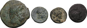 obverse: Greek World - Continental Greece and Greek Asia. Multiple lot of four (4) unclassified AE coins