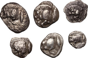 obverse: Greek World - Asia Minor. Multiple lot of six (6) unclassified AR Fractionals