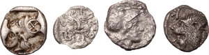 reverse: Greek World - Asia Minor. Multiple lot of four (4) unclassified AR Fractionals