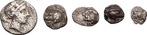 obverse: Greek World - Asia Minor. Multiple lot of five (5) unclassified AR Fractionals
