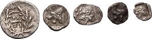 reverse: Greek World - Asia Minor. Multiple lot of five (5) unclassified AR Fractionals
