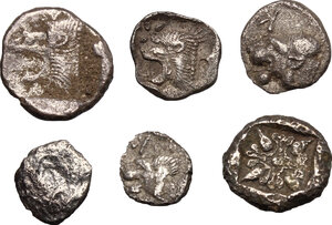 reverse: Greek World - Asia Minor. Multiple lot of six (6) unclassified AR Fractionals