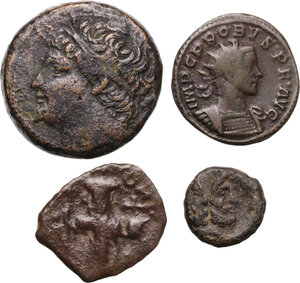 obverse: Greek World.. Multiple lot of four (4) AE/BI coins. Including Hieron II AE
