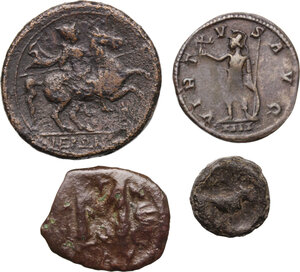 reverse: Greek World.. Multiple lot of four (4) AE/BI coins. Including Hieron II AE