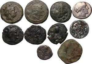 obverse: Greek Italy and Roman Republic. Multiple lot of ten (10) coins: three (3) AR (but one fourrée) and seven (7) AE