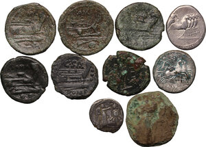 reverse: Greek Italy and Roman Republic. Multiple lot of ten (10) coins: three (3) AR (but one fourrée) and seven (7) AE