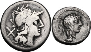 obverse: Roman Republic. Multiple lot of two (2) AR coins: Anonymous AR Denarius (Cr. 140/1), M. Cato AR Quinarius (Cr. 343/2b)