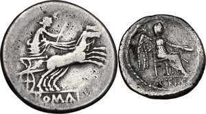 reverse: Roman Republic. Multiple lot of two (2) AR coins: Anonymous AR Denarius (Cr. 140/1), M. Cato AR Quinarius (Cr. 343/2b)