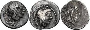 obverse: Multiple lot of three (3) AR coins: L. Rubrius Dossenus AR Denarius (Cr. 348/4), M. Cato 2 AR Quinarii (Cr. 343/2b, different control-marks)