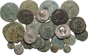 obverse: Roman Empire.. Multiple lot of twenty six (26) unclassified coins, including twenty three (23) AE Denominations and three (3) AR Denarii (Trajan, Hadrian and Commodus)