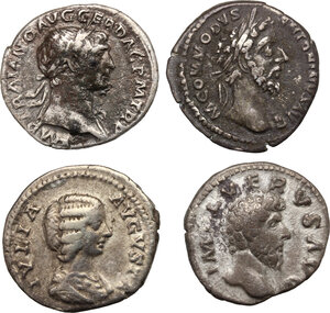 obverse: The Roman Empire.. Multiple lot of four (4) AR Denarii: Trajan, Lucius Verus, Commodus and Julia Domna