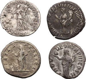 reverse: The Roman Empire.. Multiple lot of four (4) AR Denarii: Trajan, Lucius Verus, Commodus and Julia Domna