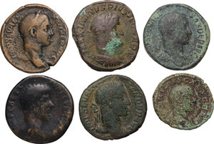 obverse: The Roman Empire.. Multiple lot of six (6) AE coins: AE As of Maximus and AE Sestertii: Lucius Verus, Severus Alexander (3) and Maximinus