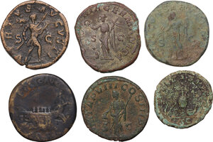 reverse: The Roman Empire.. Multiple lot of six (6) AE coins: AE As of Maximus and AE Sestertii: Lucius Verus, Severus Alexander (3) and Maximinus