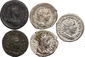 obverse: The Roman Empire.. Multiple lot of five (5) AR/BI Antoninianii: Gordian III, Philip I, Gallienus, Tacitus and Probus