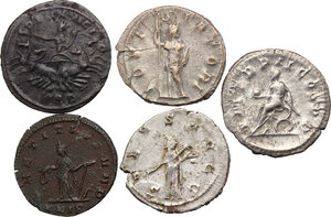 reverse: The Roman Empire.. Multiple lot of five (5) AR/BI Antoninianii: Gordian III, Philip I, Gallienus, Tacitus and Probus