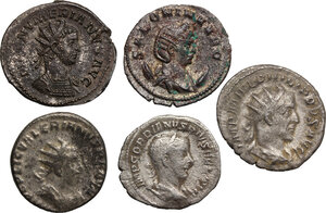 obverse: The Roman Empire.. Multiple lot of five (5) AR coins: AR Denarius of Gordian III and four (4) AR/BI Antoninianii: Philip I, Valerian, Salonina and Numerian