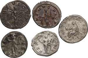 reverse: The Roman Empire.. Multiple lot of five (5) AR coins: AR Denarius of Gordian III and four (4) AR/BI Antoninianii: Philip I, Valerian, Salonina and Numerian