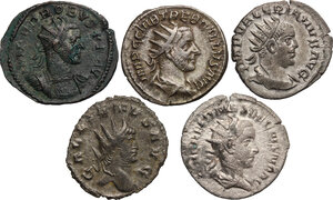 obverse: The Roman Empire.. Multiple lot of five (5) AR/BI Antoninianii: Herennius Etruscus, Trebonianus Gallus, Valerian, Gallienus and Probus