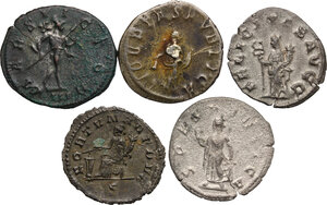 reverse: The Roman Empire.. Multiple lot of five (5) AR/BI Antoninianii: Herennius Etruscus, Trebonianus Gallus, Valerian, Gallienus and Probus