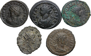 obverse: The Roman Empire.. Multiple lot of five (5) BI Antoniniani: Gallienus, Aurelian, Probus (2) and Carinus