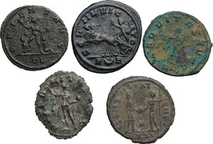 reverse: The Roman Empire.. Multiple lot of five (5) BI Antoniniani: Gallienus, Aurelian, Probus (2) and Carinus