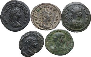 obverse: The Roman Empire.. Multiple lot of five (5) BI Antoniniani: Quintillus, Aurelianus, Probus (2) and Carinus