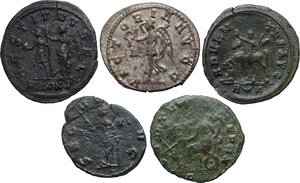 reverse: The Roman Empire.. Multiple lot of five (5) BI Antoniniani: Quintillus, Aurelianus, Probus (2) and Carinus