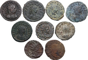 obverse: The Roman Empire.. Multiple lot of nine (9) unclassified BI Antoniniani