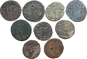 reverse: The Roman Empire.. Multiple lot of nine (9) unclassified BI Antoniniani
