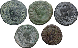 obverse: The Roman Empire.. Multiple lot of five (5) AE Provincial coins: Philip II Samosata mint (Commagene), Gordian III, Herennia Etruscilla and Hostilian (2) Viminacium mint (Moesia Superior)