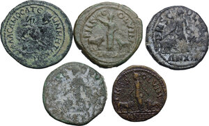 reverse: The Roman Empire.. Multiple lot of five (5) AE Provincial coins: Philip II Samosata mint (Commagene), Gordian III, Herennia Etruscilla and Hostilian (2) Viminacium mint (Moesia Superior)