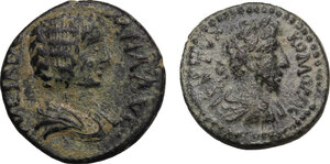 obverse: The Roman Empire.. Multiple lot of two (2) AE coins, Julia Domna Antioch mint and Commodus Hierapolis-Castabala mint (Cilicia)