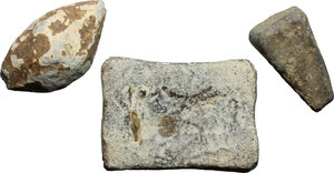 obverse: Leads from Ancient World.. Multiple lot of three (3) unclassified lead objects