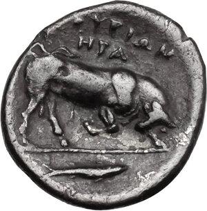 reverse: Southern Lucania, Thurium. AR Diobol, c. 350-300 BC