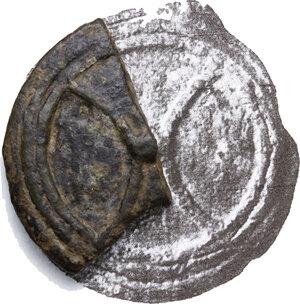 obverse: Uncertain of Inland Etruria.  Archaic wheel/three crescent series.. Large fragment of AE Cast Quadrans, 3rd century BC