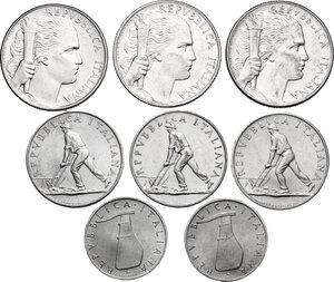 obverse: Lotto di otto (8) monete: 5 Lire 1948, 1949 e 1950, 5 Lire 1953 (2), 2 Lire 1950 (3)