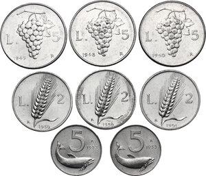reverse: Lotto di otto (8) monete: 5 Lire 1948, 1949 e 1950, 5 Lire 1953 (2), 2 Lire 1950 (3)