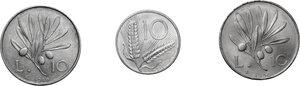 reverse: Lotto di tre (3) monete: 10 Lire 1949 e 1950, 10 Lire 1952 (FDC sigillata Aurora)