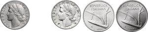 obverse: Lotto di quattro (4) monete: 10 Lire 1952 e 1965, Lira 1948 e 1949 (FDC sigillata Lupo)