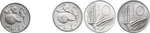 reverse: Lotto di quattro (4) monete: 10 Lire 1952 e 1965, Lira 1948 e 1949 (FDC sigillata Lupo)