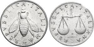 obverse: Lotto di due (2) monete: 2 Lire 1953 asse spostato di 15°, Lira 1999 conio tranciato