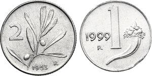 reverse: Lotto di due (2) monete: 2 Lire 1953 asse spostato di 15°, Lira 1999 conio tranciato