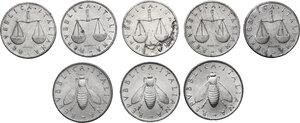 obverse: Lotto di otto (8) monete: 2 Lire 1954, 1959 e 1970, Lira 1951, 1952, 1953, 1954 e 1955