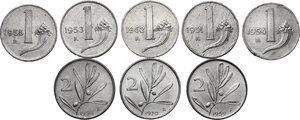 reverse: Lotto di otto (8) monete: 2 Lire 1954, 1959 e 1970, Lira 1951, 1952, 1953, 1954 e 1955