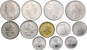 obverse: Lotto di dodici (12) monete: 100 Lire 1966, 1968, 1969 e 1970, 50 Lire 1969 e 1970, 20 Lire 1970, 5 Lire 1968 e 1969, 2 Lire 1969 e 1970, Lira 1970