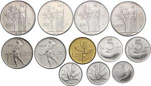 reverse: Lotto di dodici (12) monete: 100 Lire 1966, 1968, 1969 e 1970, 50 Lire 1969 e 1970, 20 Lire 1970, 5 Lire 1968 e 1969, 2 Lire 1969 e 1970, Lira 1970